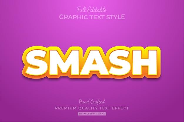Smash cartoon editable custom text style effect premium Vetor Premium