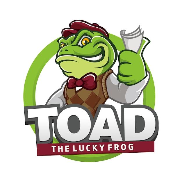 Smile frog logo de mascote de sapo Vetor Premium