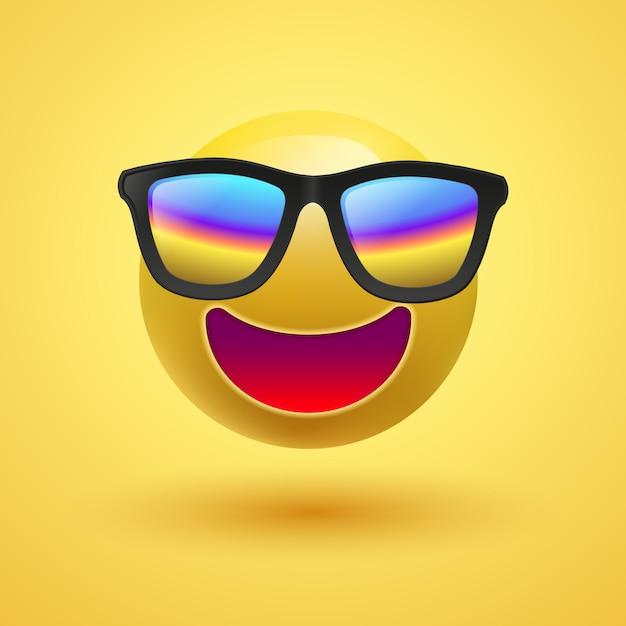Smiley 3d bonito amarelo com os óculos de sol no fundo amarelo, ilustração. Vetor Premium