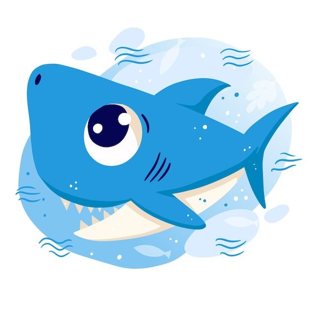 Smiley bebê tubarão com olhos azuis Vetor Premium