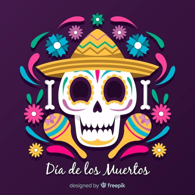 Smiley decorado crânio fundo de dia de muertos Vetor grátis