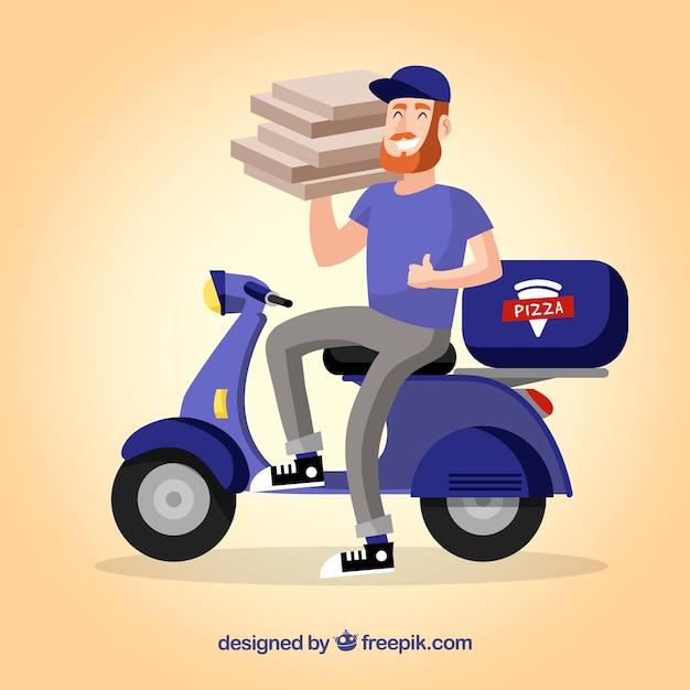 Smileyman que entrega pizza   Baixar vetores grátis