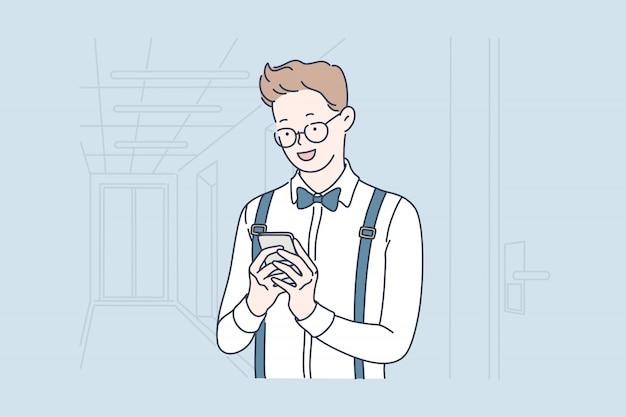 Smm, blog, selfie. Vetor Premium