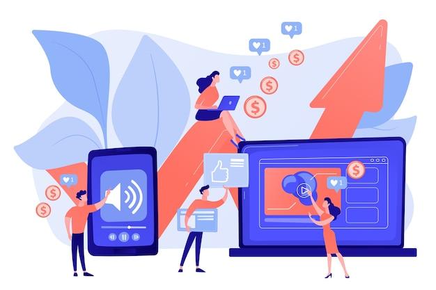 Smm, marketing de influenciador de redes sociais Vetor grátis