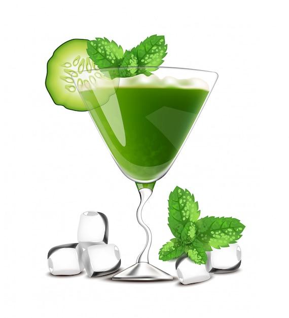 Smoothie coquetel bebida verde com pepino Vetor Premium