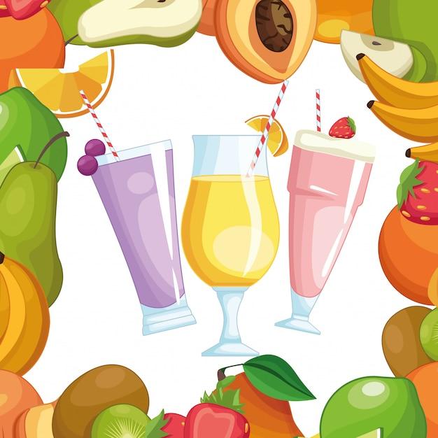 Smoothies com moldura de frutas Vetor Premium