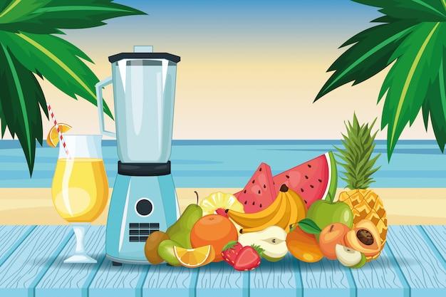 Smoothies com tigela de frutas e misturador Vetor Premium