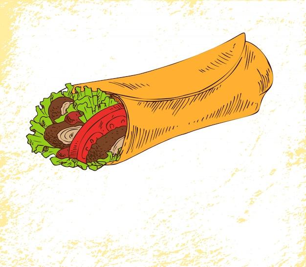 Snack burrito isolado no cartaz de vetor branco Vetor Premium