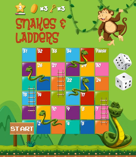 Snakes and ladders board game Vetor Premium