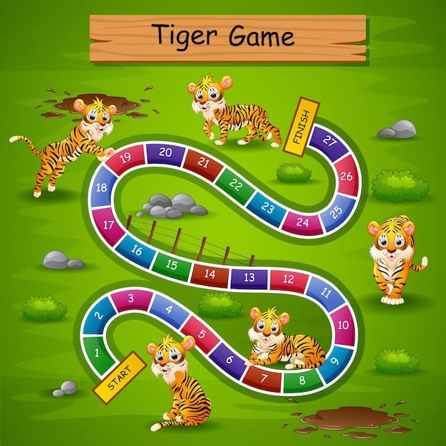 Snakes ladders game tigre tema Vetor Premium