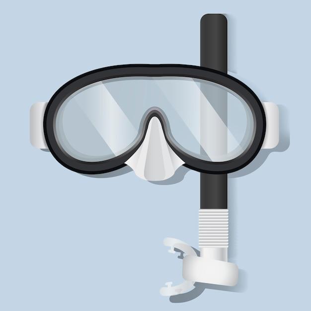 Snorkeling scuba mask mergulho equipamento ilustração vetorial Vetor grátis