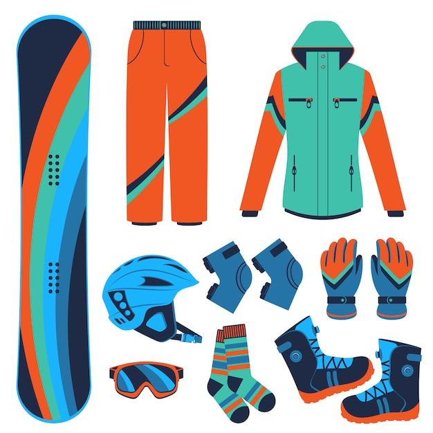 Snowboard. esportes radicais de inverno. Vetor Premium