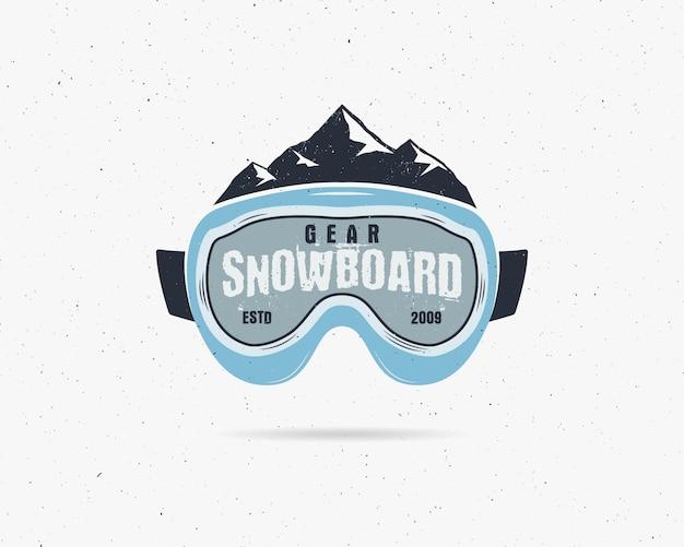 Snowboard óculos de proteção extrema logotipo, modelo de legenda. crachá da loja do esporte do snowboard do inverno. Vetor Premium