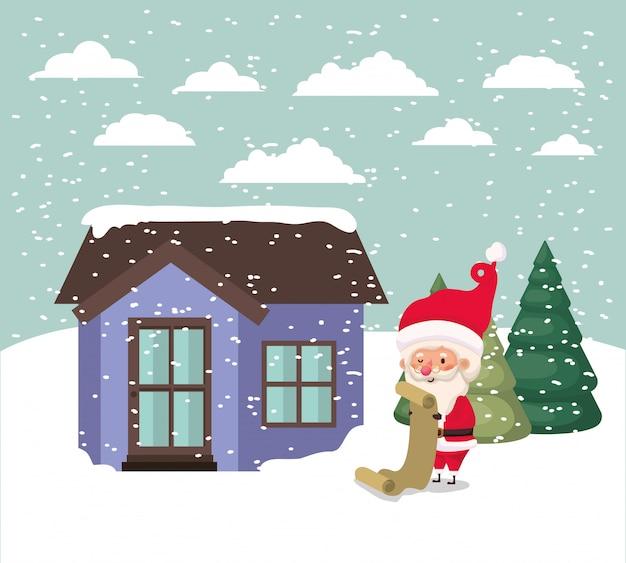 Snowscape com casa bonito e cena de papai noel Vetor grátis