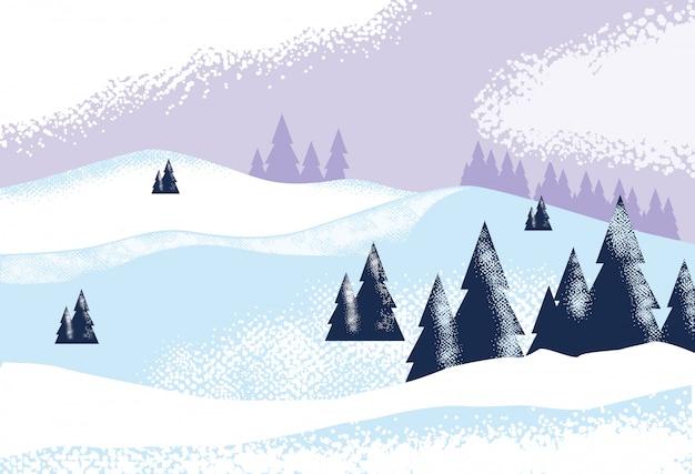 Snowscape natureza cena natureza plano de fundo Vetor Premium