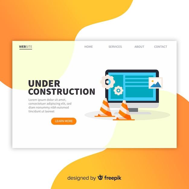 Sob a página de destino da construção Vetor grátis