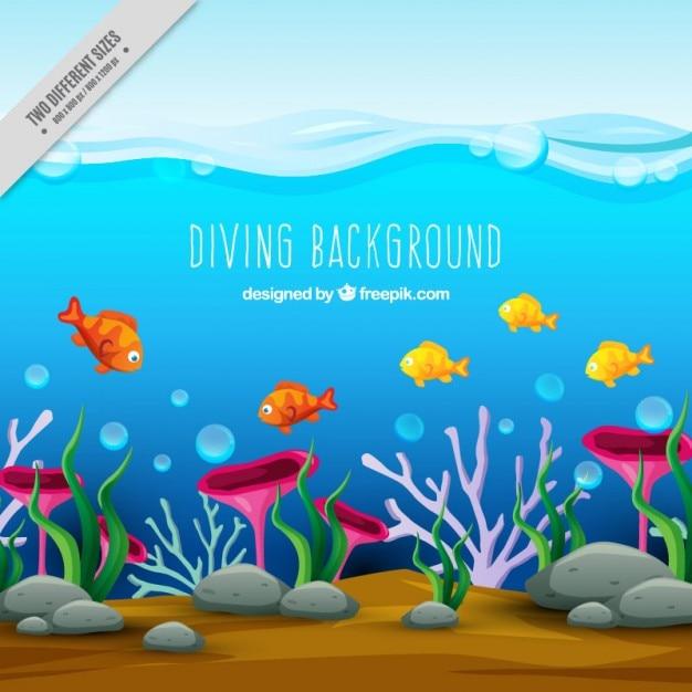 Sob a vida marinha Vetor grátis