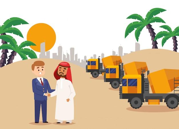 Sob construsction, construindo acordo ilustração de aperto de mão. contrato de parceria de empresário com homem árabe, construindo Vetor Premium