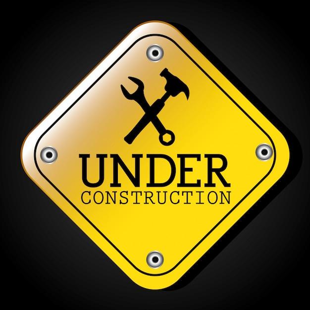 Sob o projeto de construção. Vetor Premium