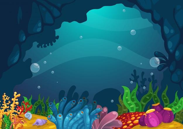 Sob o vetor de fundo do mar Vetor Premium
