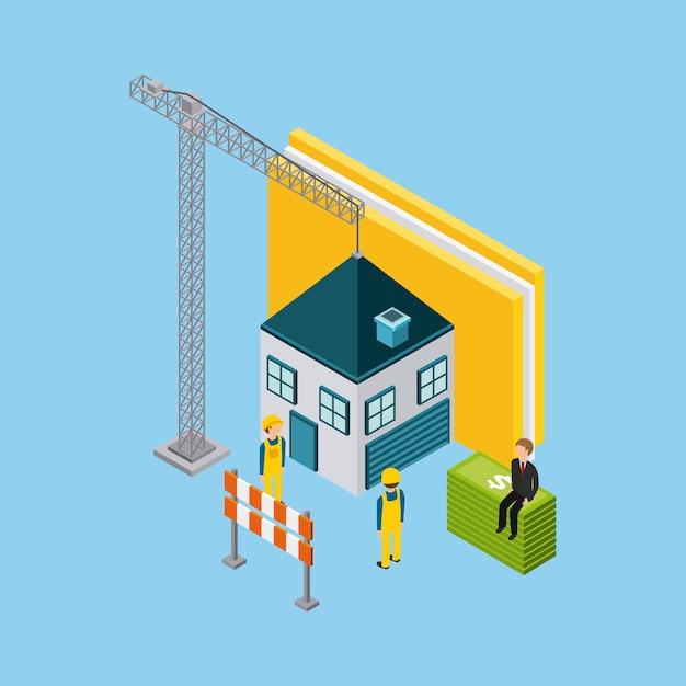 Sob projeto de construção Vetor Premium