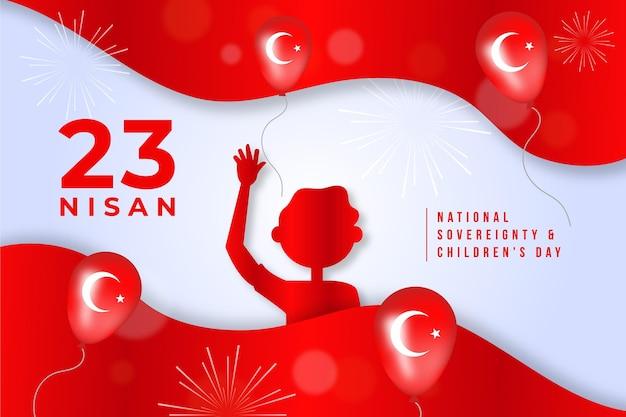 Soberania nacional e ilustração do dia das crianças com balões Vetor grátis