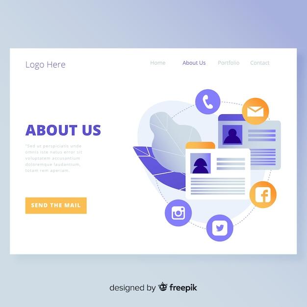 Sobre nós design da página de destino Vetor grátis