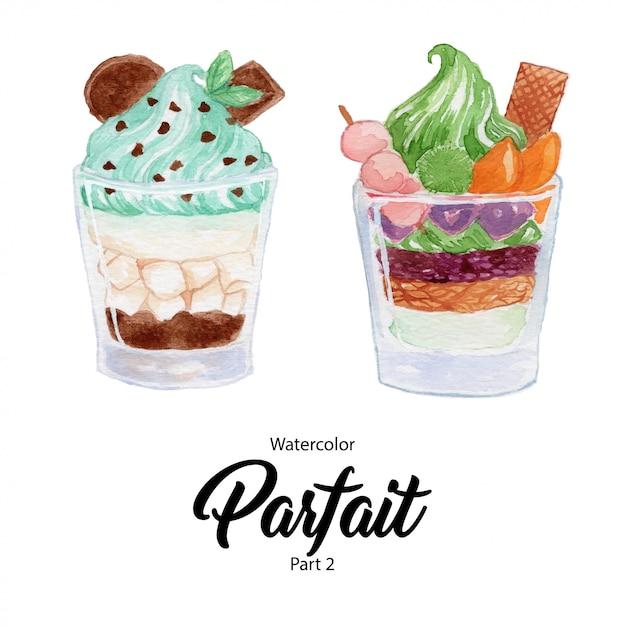 Sobremesa básica do parfait do rgbfruit em um vidro Vetor Premium