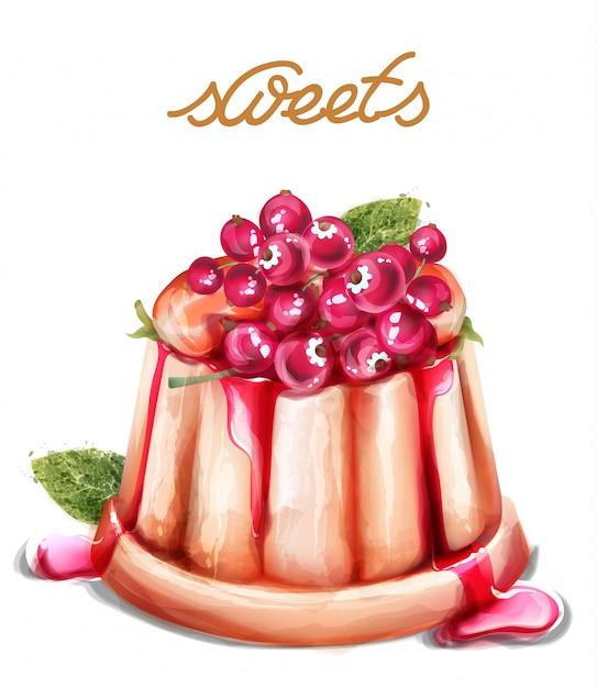 Sobremesa de panna cotta com frutas de groselha aquarela de vetor. estilos vintage de sobremesas de verão Vetor Premium