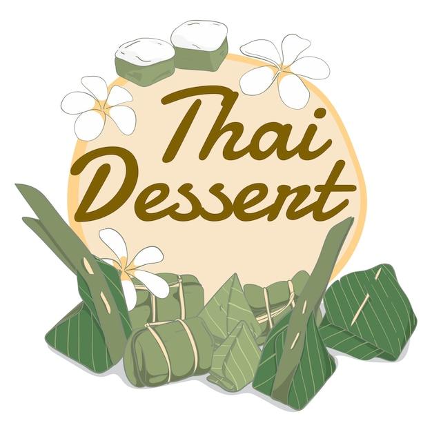 Sobremesa tailandesa de elementos desenhados a mão Vetor Premium