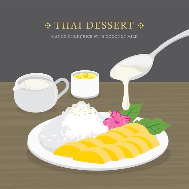 Sobremesa tailandesa, manga e arroz com leite de coco e molho de manga. Vetor Premium