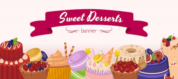 Sobremesas doces horizontal banner plana de desenhos animados Vetor Premium