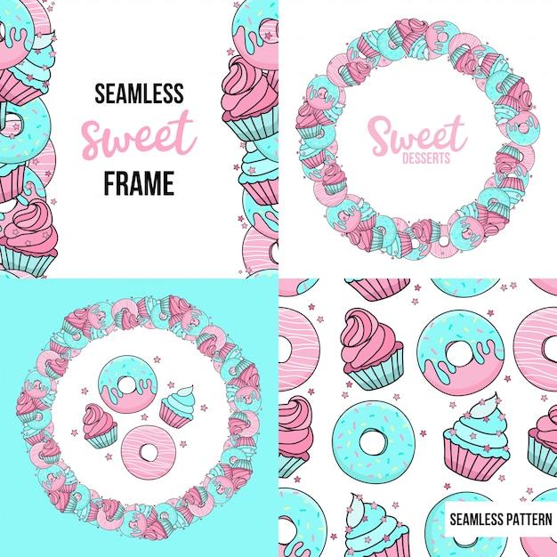 Sobremesas padrão sem emenda e quadro com sobremesas doces. rosquinhas de azuis e rosa, bolos, confetes. Vetor Premium
