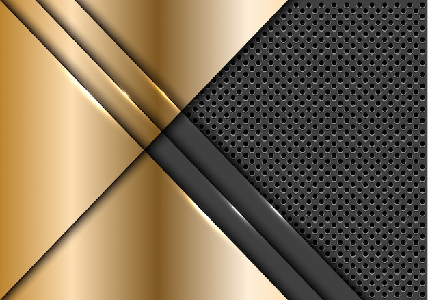 Sobreposição da placa de ouro no fundo metálico cinzento da malha do círculo. Vetor Premium
