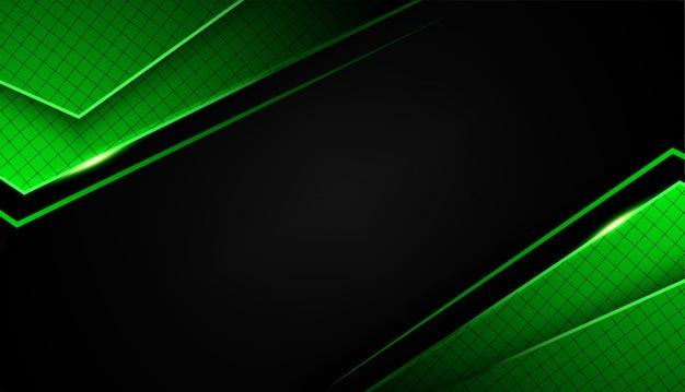 Sobreposição forma abstrata tecnologia de design de layout de quadro preto verde com brilhos e efeito de luz Vetor Premium