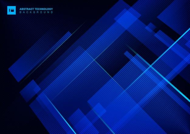 Sobreposição geométrica azul do conceito abstrato da tecnologia com linha clara do laser no fundo escuro. Vetor Premium