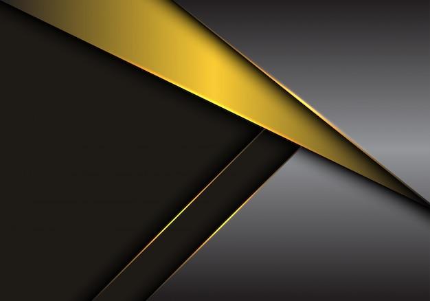 Sobreposição metálica cinzenta do ouro no fundo escuro do espaço vazio. Vetor Premium