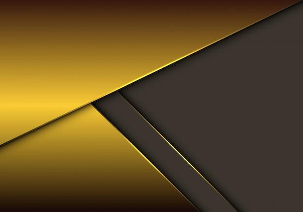 Sobreposição metálica do ouro no fundo cinzento do espaço vazio. Vetor Premium