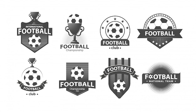 Soccer football badge logotipos e emblemas Vetor Premium