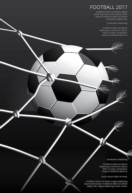 Soccer football poster vestor illustration Vetor Premium
