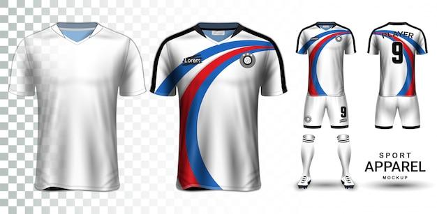 Soccer jersey and football kit modelo de maquete de apresentação Vetor Premium