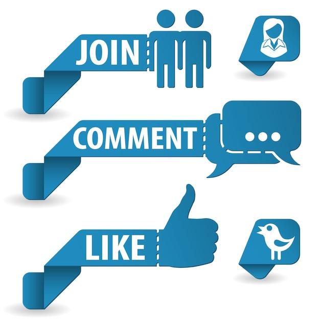 Social media autocolantes Vetor Premium