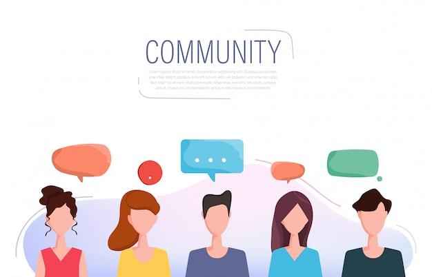 Social media pessoas em caráter de comunicação. Vetor Premium