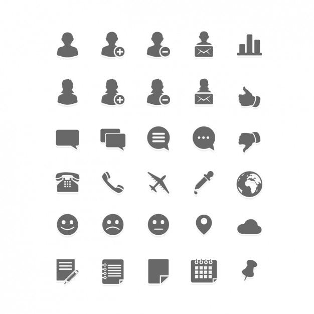 Social media plano conjunto de ícones Vetor grátis
