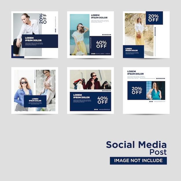 Social media post template collection Vetor Premium