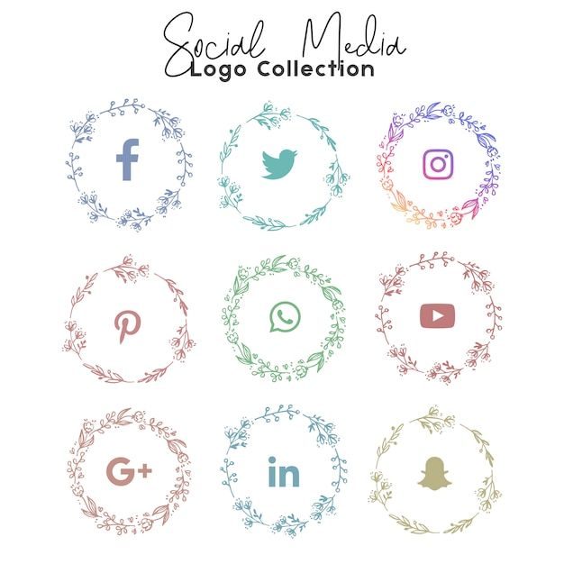 Social media summer coleção de logotipo e ícone Vetor Premium