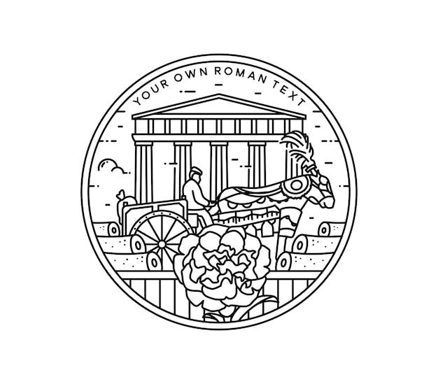 Sociedade romana clássica com construção e flor de cravo Vetor Premium