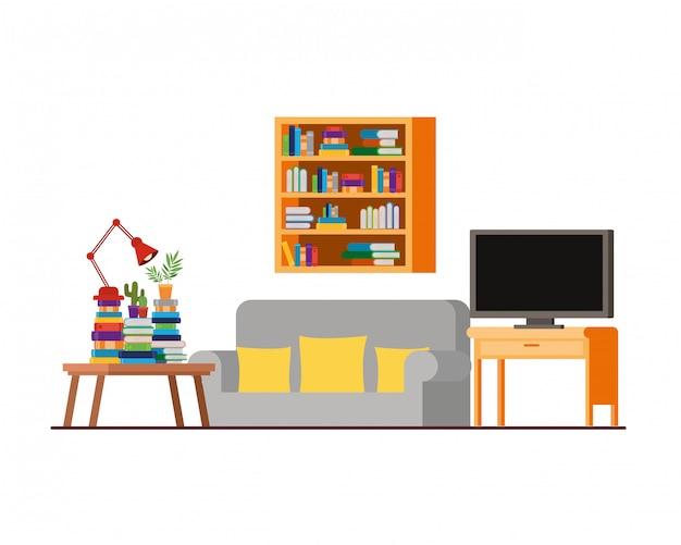 Sofá confortável na sala de estar com tv de plasma Vetor Premium
