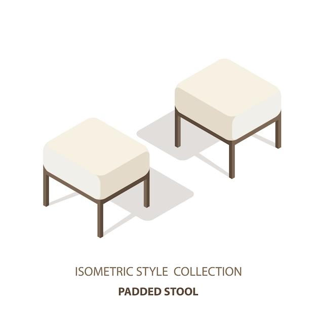 Sofá de cabeceira. banco de quarto em vista de estilo isométrico. sofá da luminosidade reduzida isolado do fundo branco. Vetor Premium