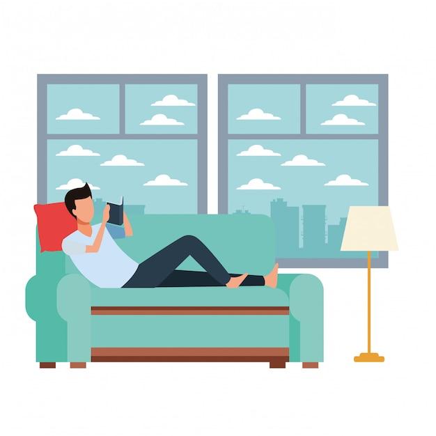 Sofá de leitura de homem sem rosto Vetor Premium